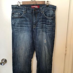 Express Kingston distress boot cut jeans 34/32